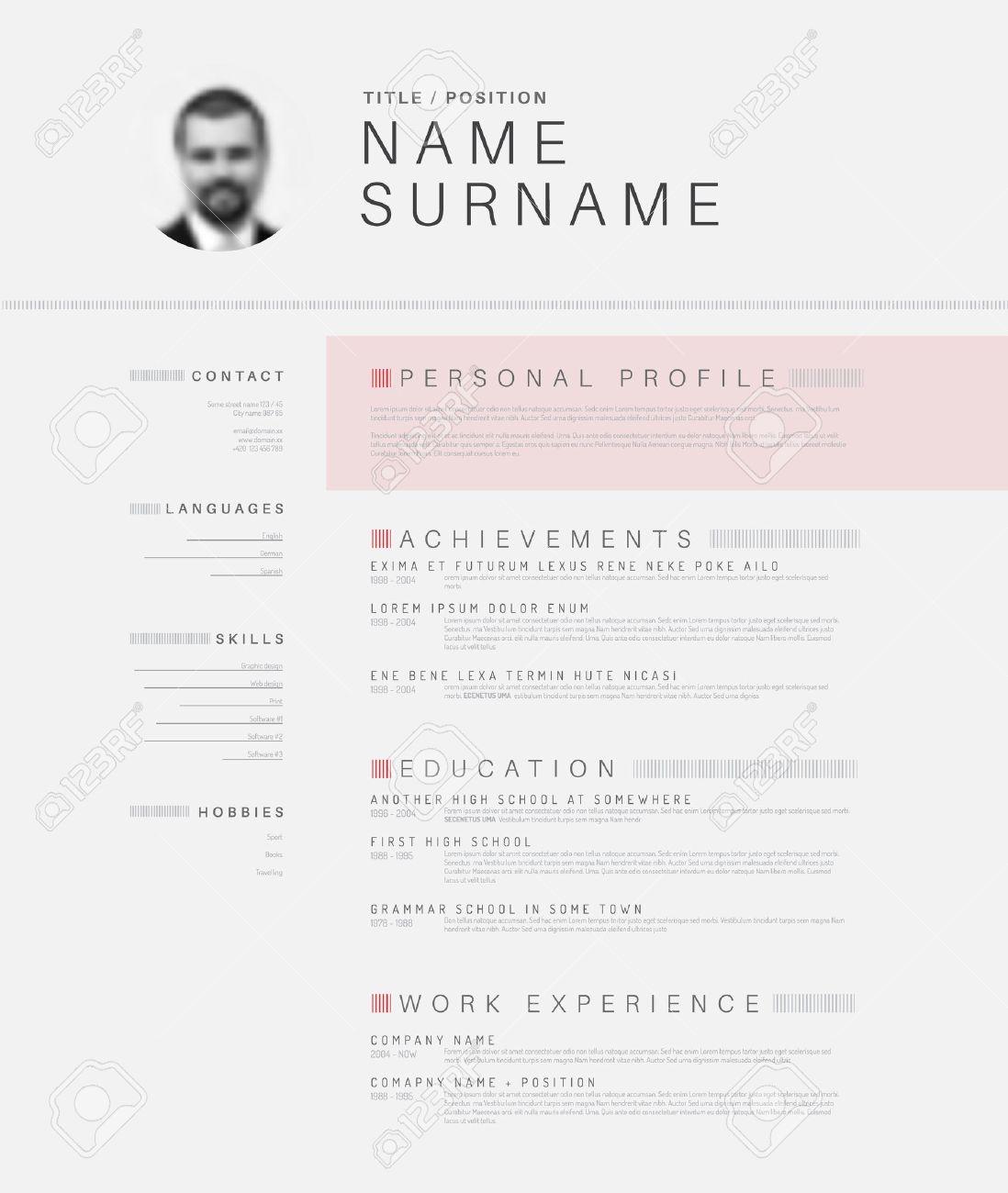 Vector minimalist black and white cv / resume template design with profile photo - 44870565