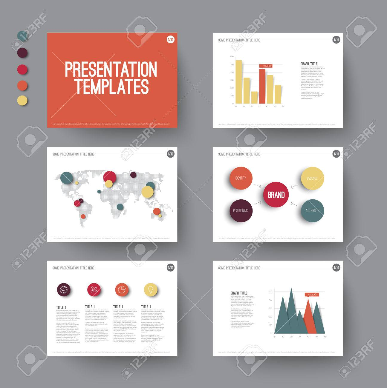 Vector Template For Presentation Slides With Graphs And Charts ...