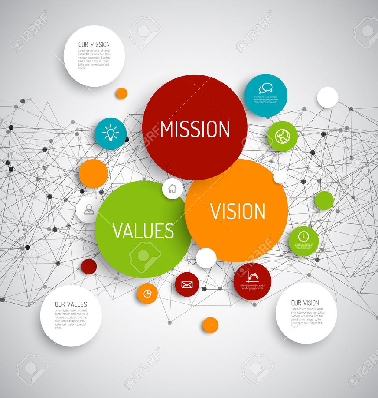 Vector Mission, vision and values diagram schema infographic with network in the background - 44870898