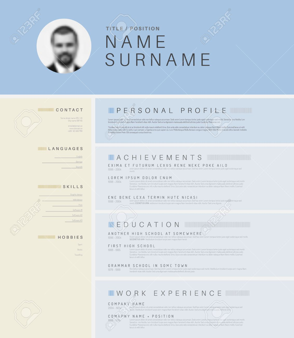 vector mini stlight cv resume template design profile vector vector mini stlight cv resume template design profile photo