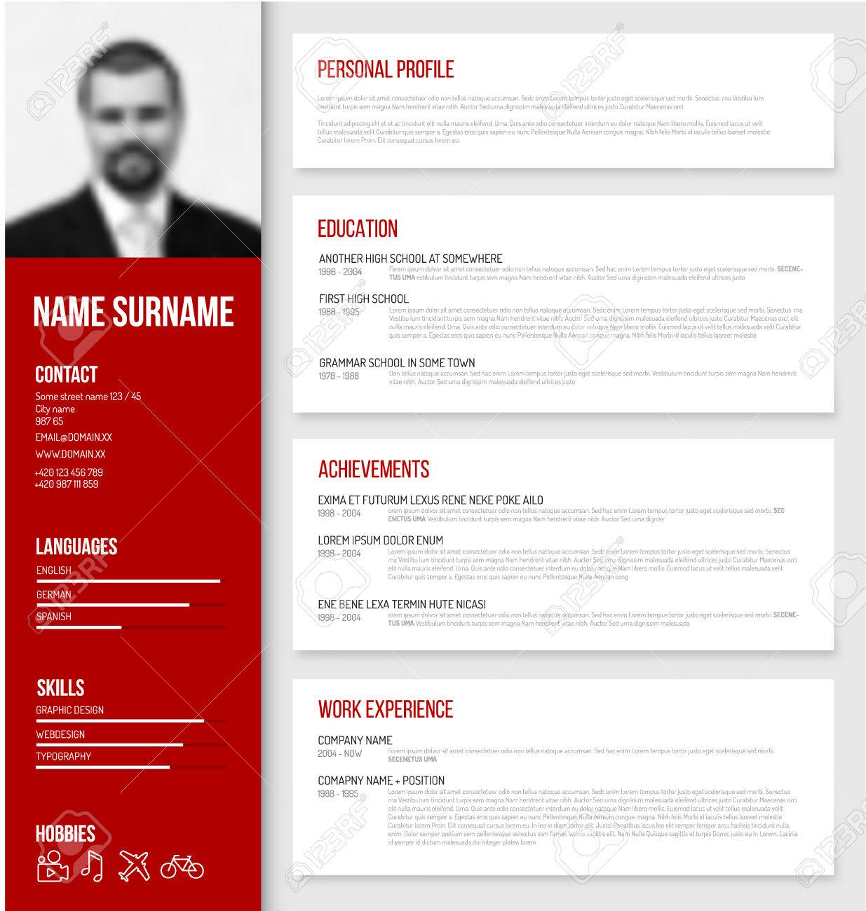 Vector minimalist cv / resume template design with profile photo - red version - 45852683