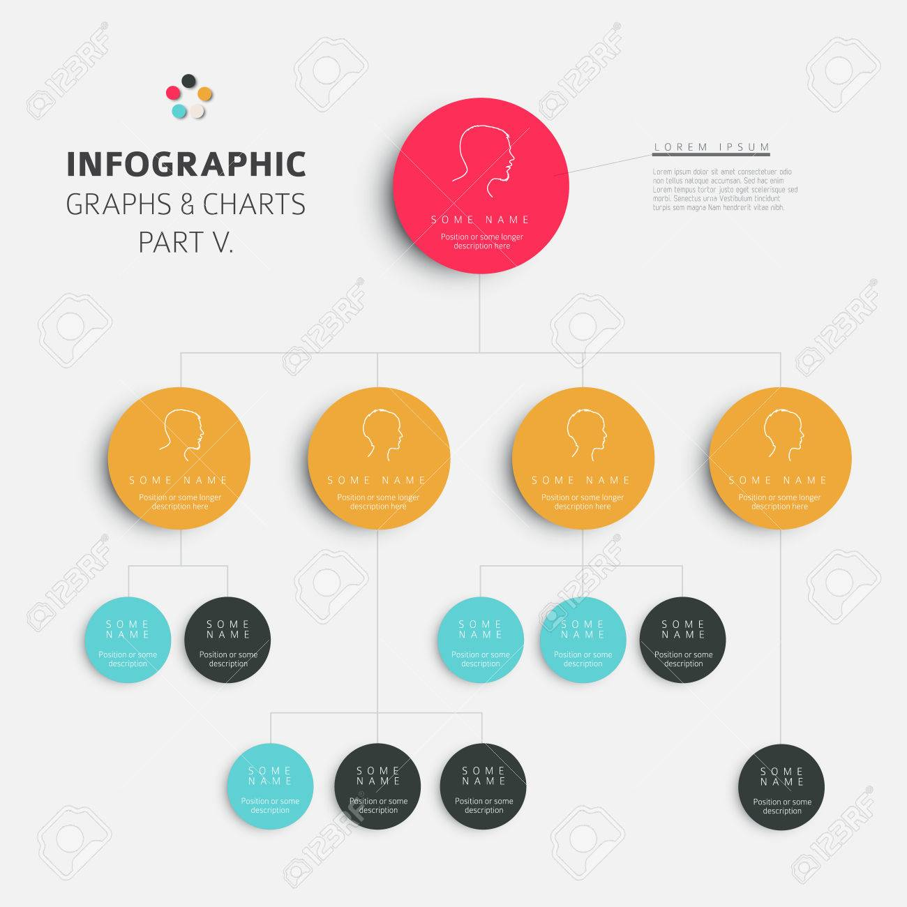 Set of vector flat design infographics hierarchy diagram fresh set of vector flat design infographics hierarchy diagram fresh retro color version part 5 stock ccuart Image collections