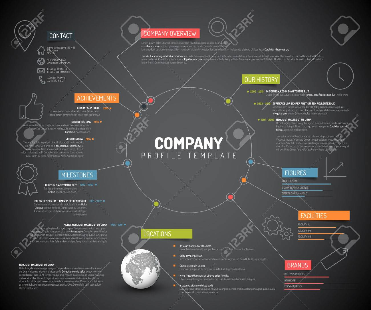 Vector Company infographic overview design template with colorful labels and icons - dark version - 46676094