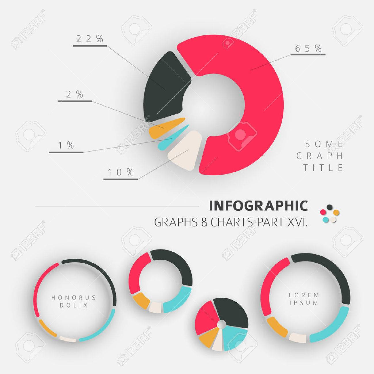 Vector flat design infographic elements - pie charts - 16. part of my infographic bundle - 48151428