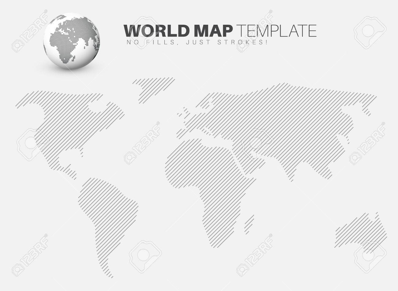 World map template made from diagonal lines for your infographics vector world map template made from diagonal lines for your infographics reports gumiabroncs Choice Image