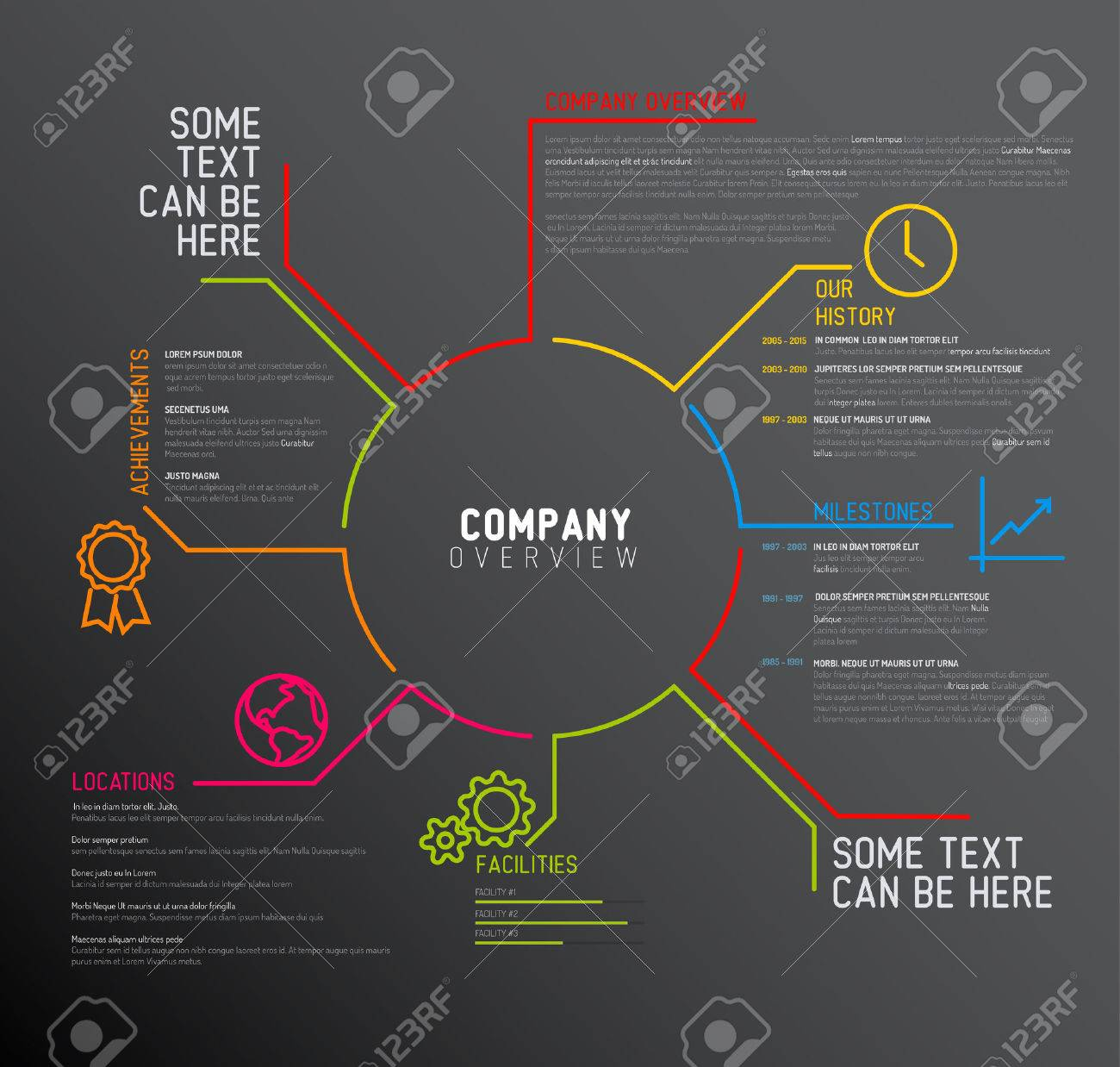 Vector Company infographic overview design template with thin line icons - dark version - 48961690