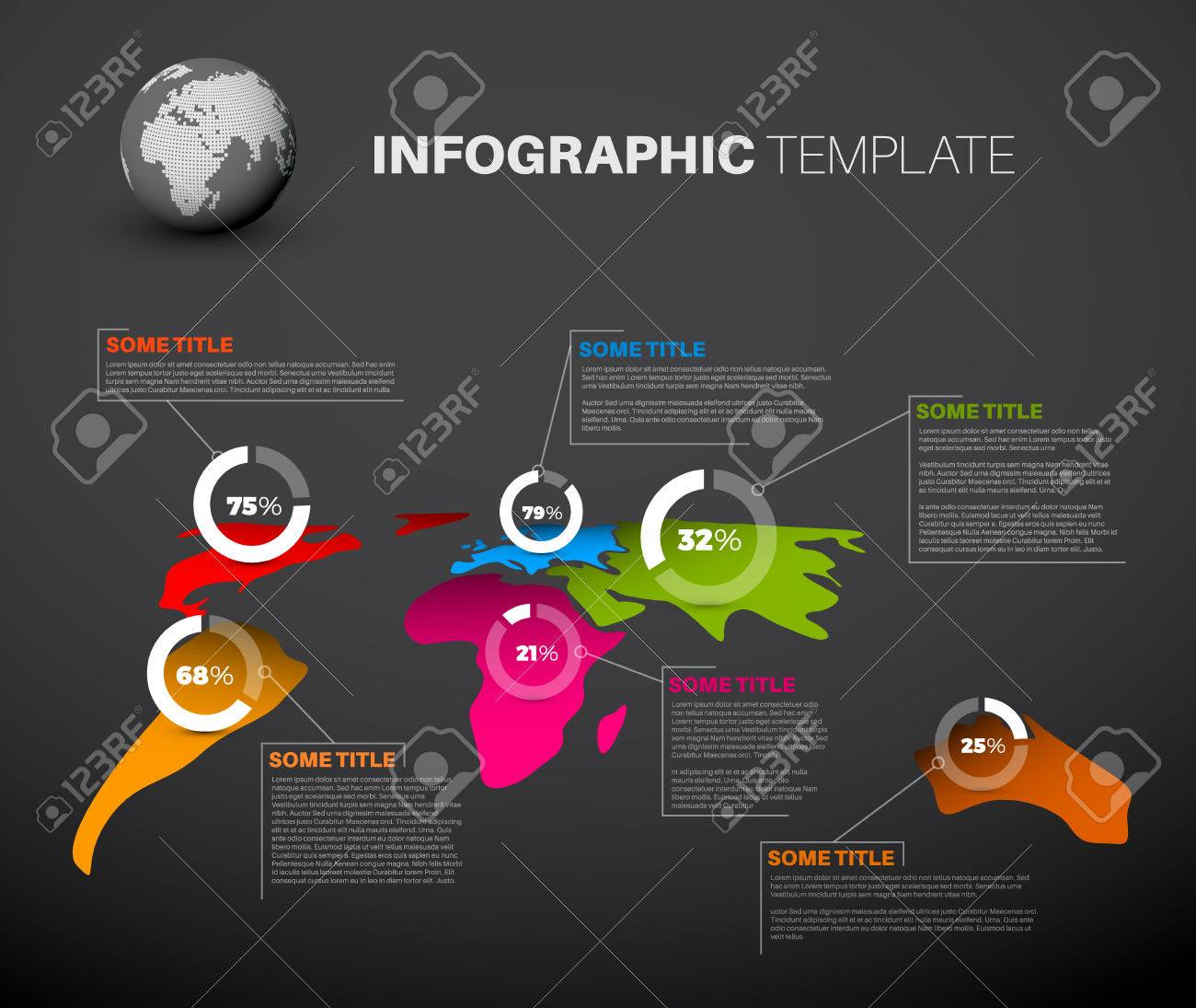 Light world map infographic template with pie charts dark version light world map infographic template with pie charts dark version stock vector 48961694 gumiabroncs Images