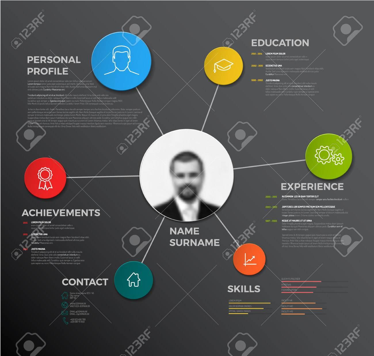 Vector minimalist creative cv / resume template - dark version - 50008162