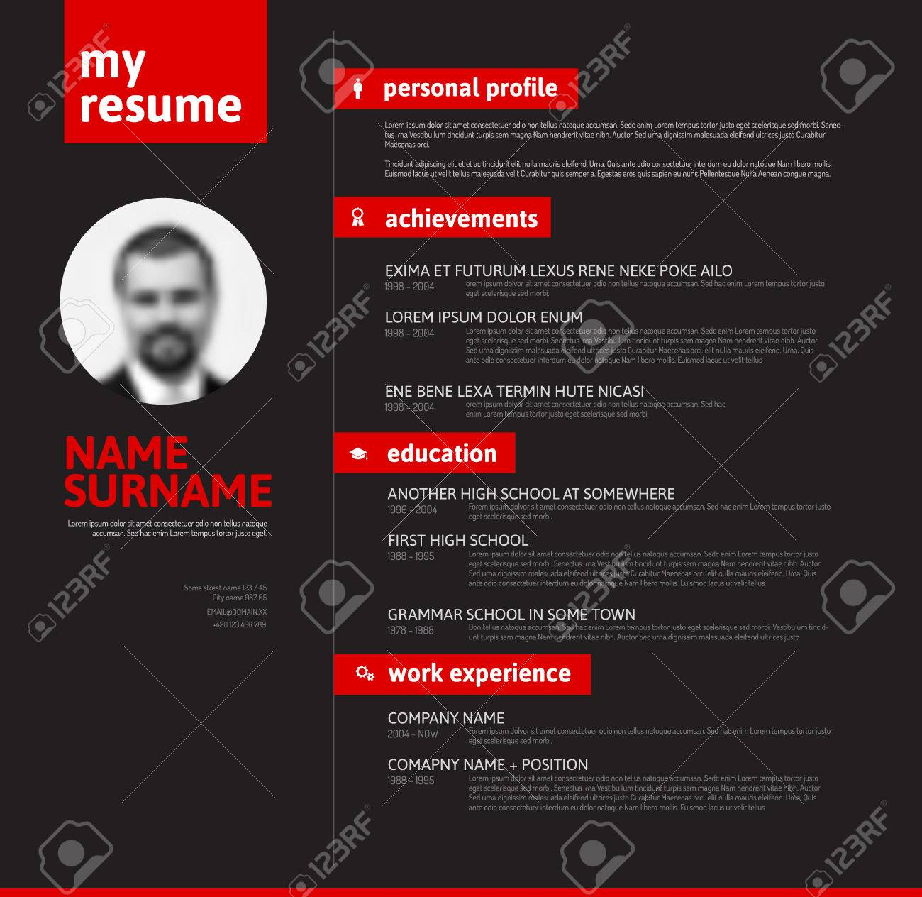 Minimalist Cv / Resume Template With Nice Typography Design   Red And Black  Version Stock Vector