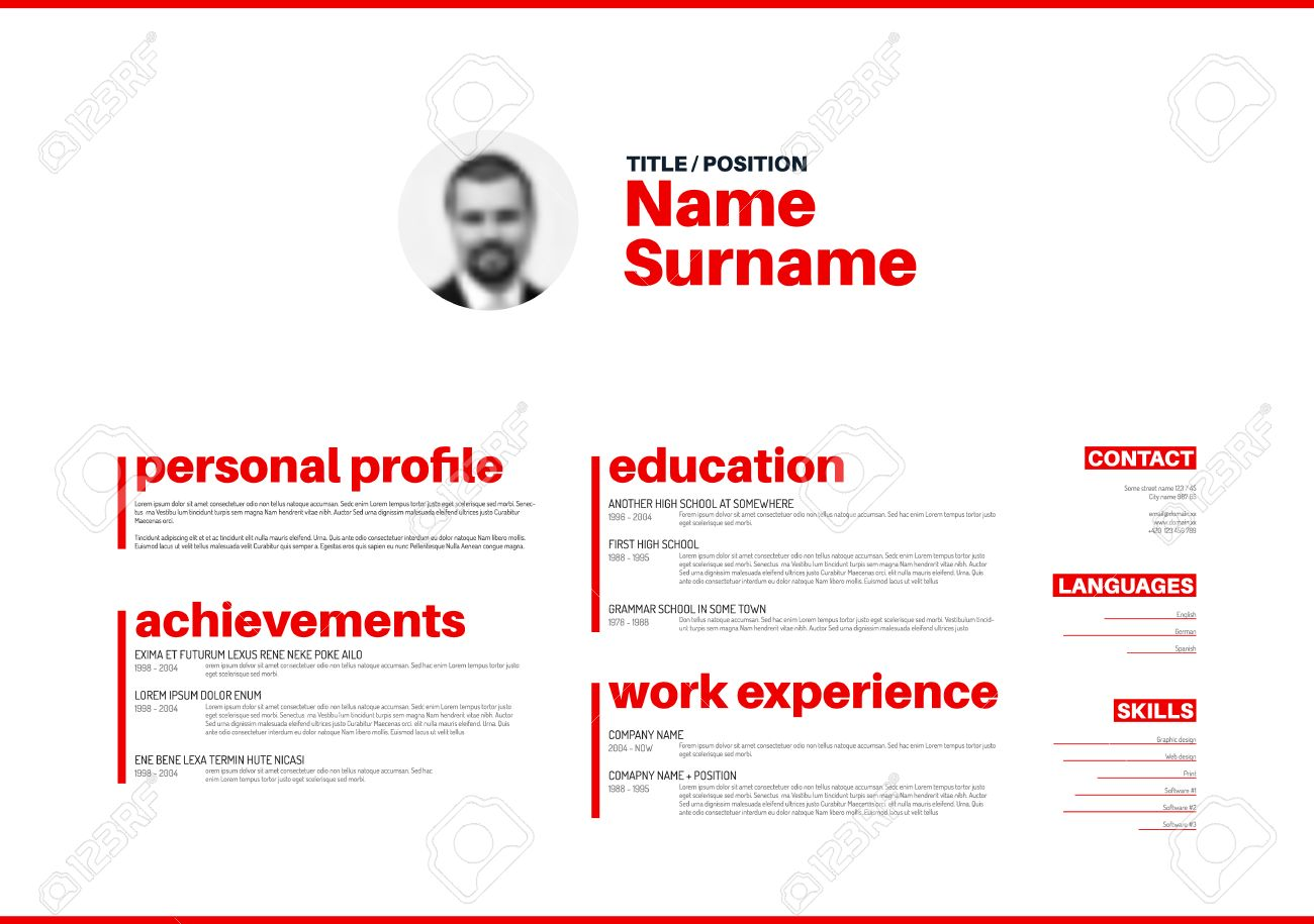 Minimalist Cv / Resume Template With Nice Typogrgaphy Design ...