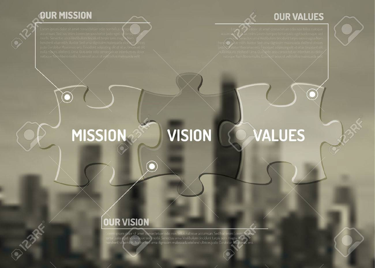 Mission, vision and values diagram schema made from puzzle pieces on the city background - 55424172