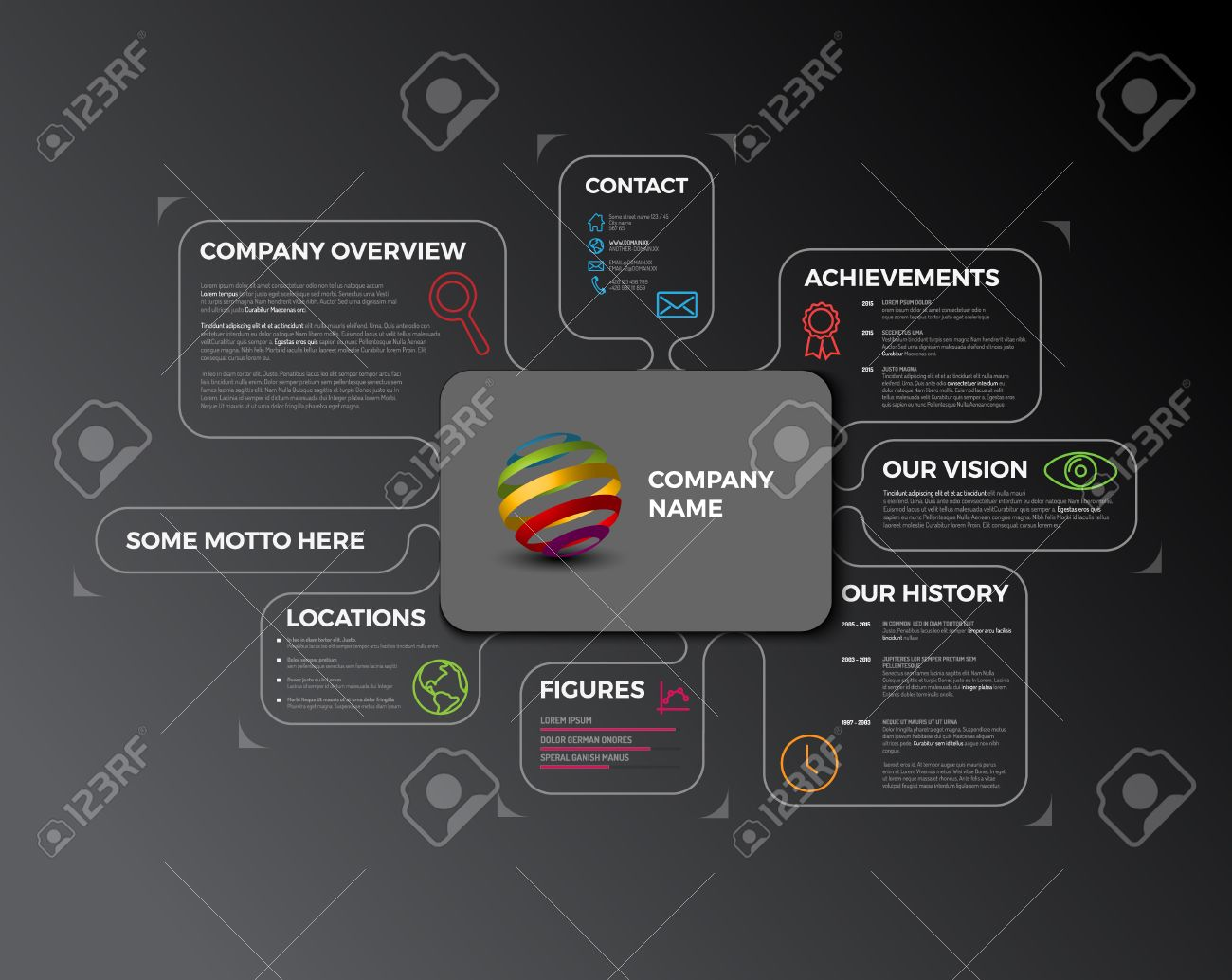 Company Infographic Overview. Company Profile Design Template ...