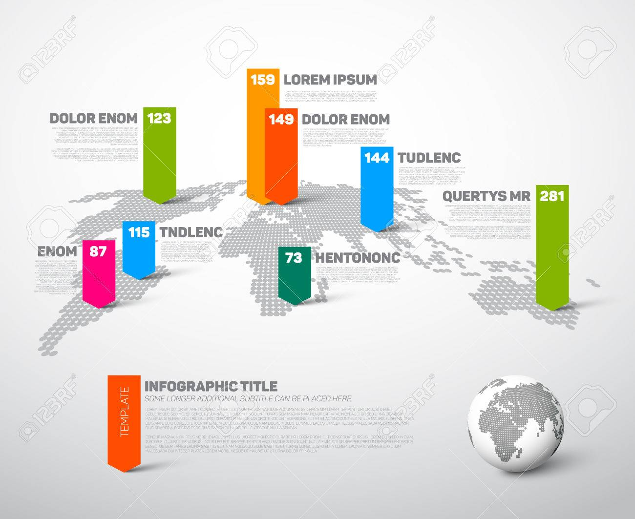 Light world map infographic template with globe color pointer light world map infographic template with globe color pointer marks and data numbers visualization stock gumiabroncs Gallery