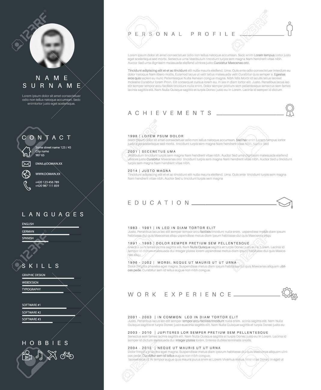 Minimalista Plantilla Cv / Curriculum Vitae Con Diseño Agradable ...