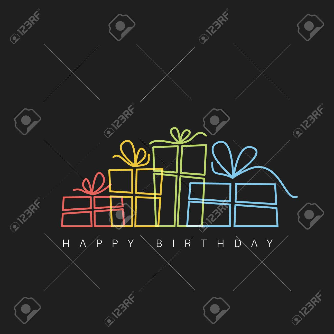 Dark Happy birthday fresh illustration with presents made by thin neon lines - 57912891