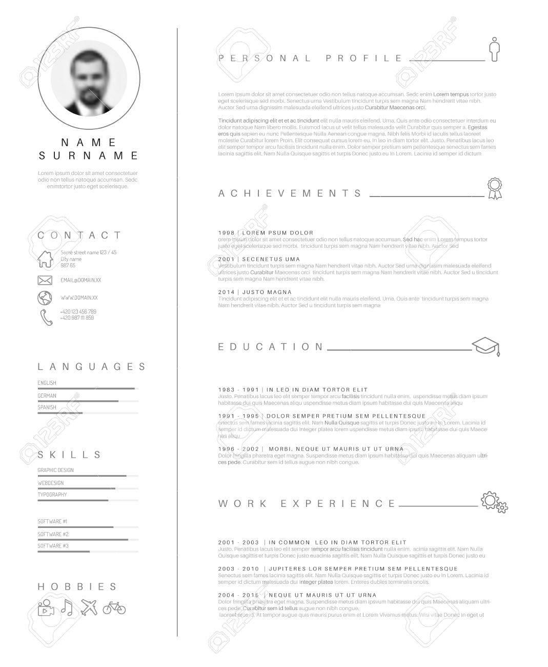 minimalist cv / resume template with nice typography design. - 57912893