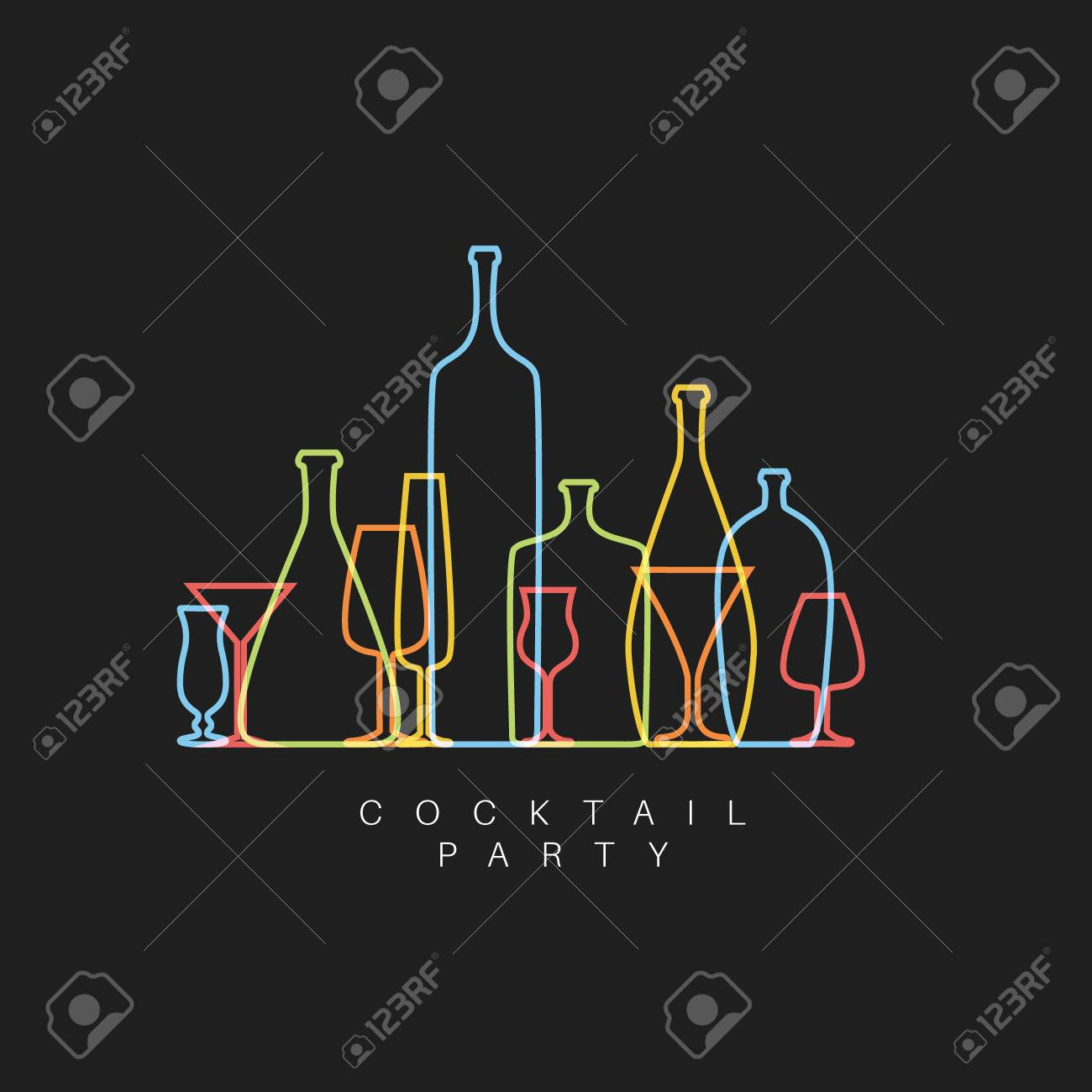 dark fresh Cocktail party invitation card with glasses and bottles made by thin line - 57912898