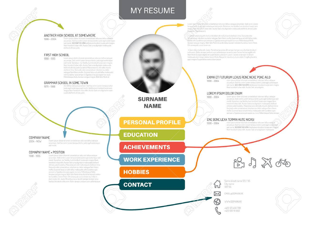 Vector original minimalist cv / resume template - creative version with lines connecting work experiences, education, personal info, achievements - 59956426