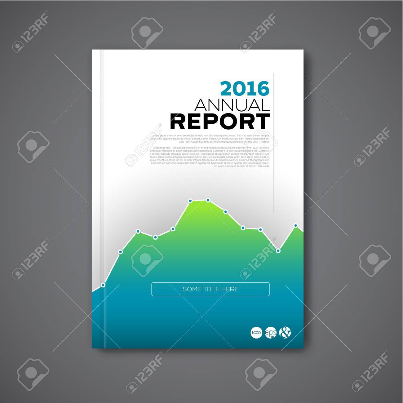 Modern Vector Annual Report Review Design Template With Big Graph. Template  Of The Report Front  Annual Report Cover Page Template