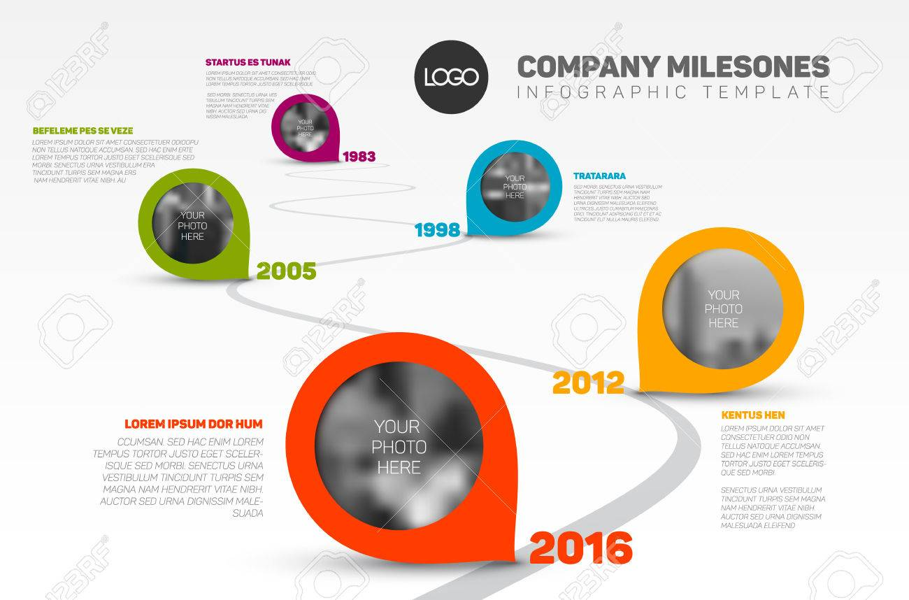 Vector Infographic Company Milestones Timeline Template with pointers and photo placeholders on a curved road line - 64040147