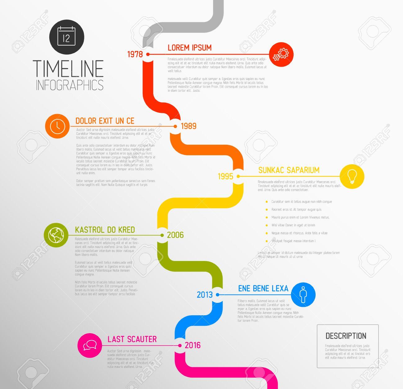 Plantilla De Informe De Línea De Tiempo Vectorial Infografía Con Los ...
