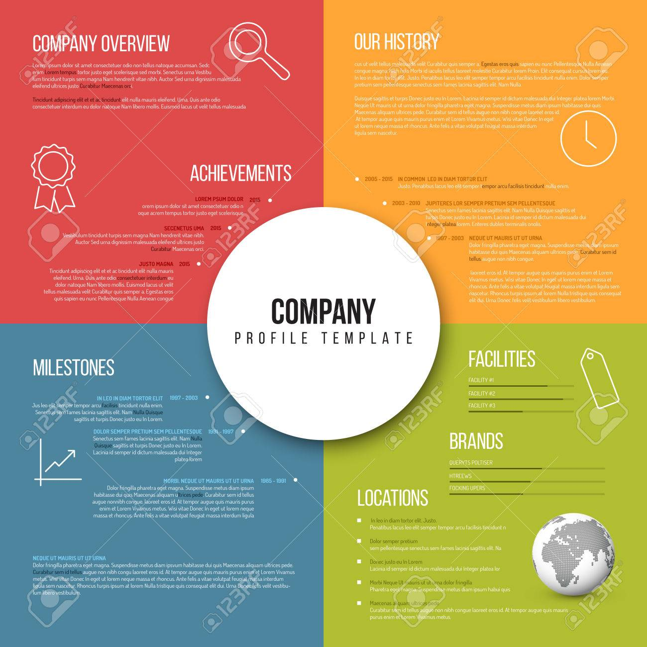 Vector Company Infographic Overview Design Template Fresh Color ...