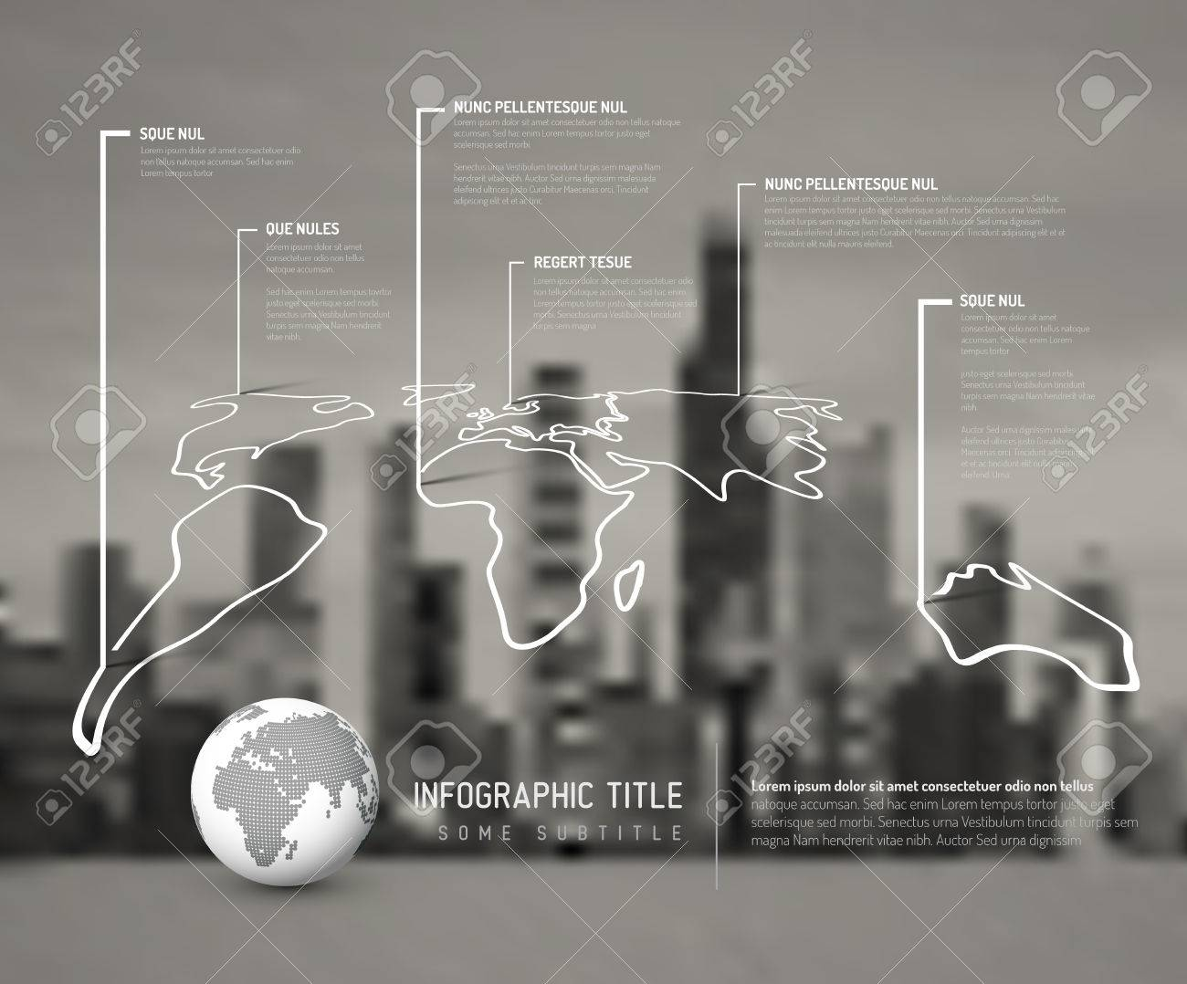Light world thin line map infographic template with pointer marks light world thin line map infographic template with pointer marks and blurred city photo in the gumiabroncs Gallery