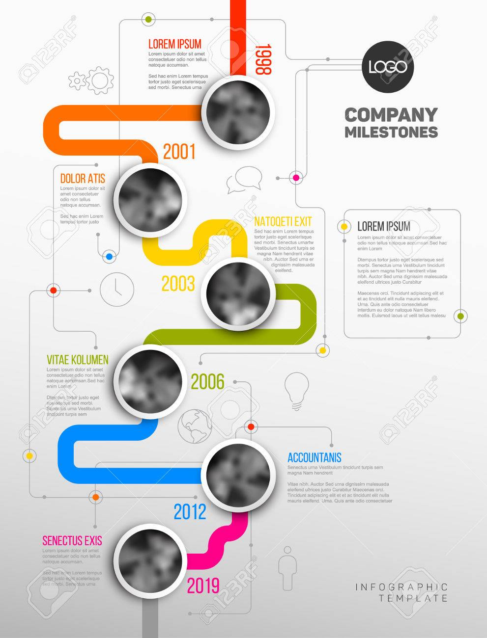 vector infographic company milestones timeline template with