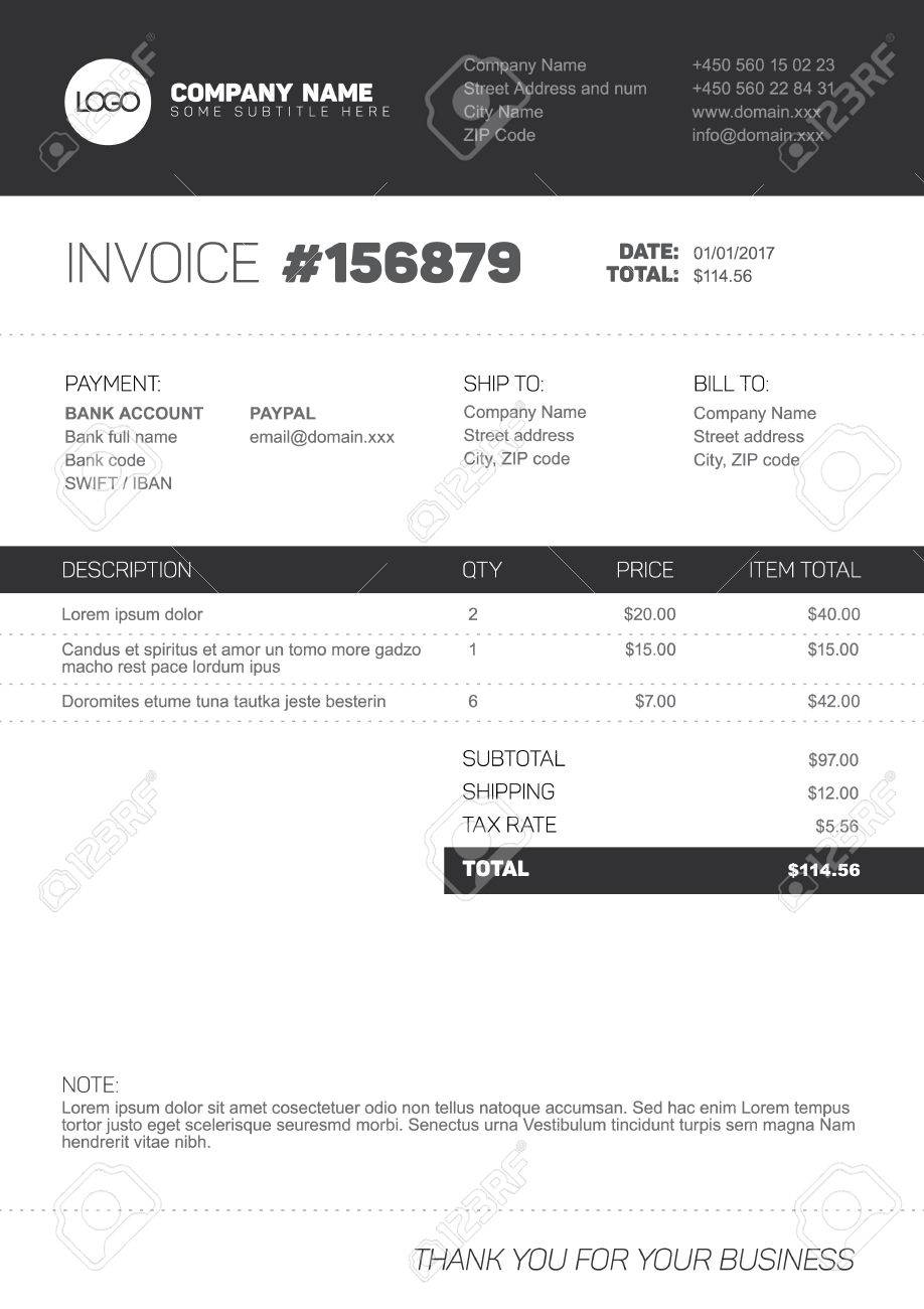 vector minimalist invoice template design for your business