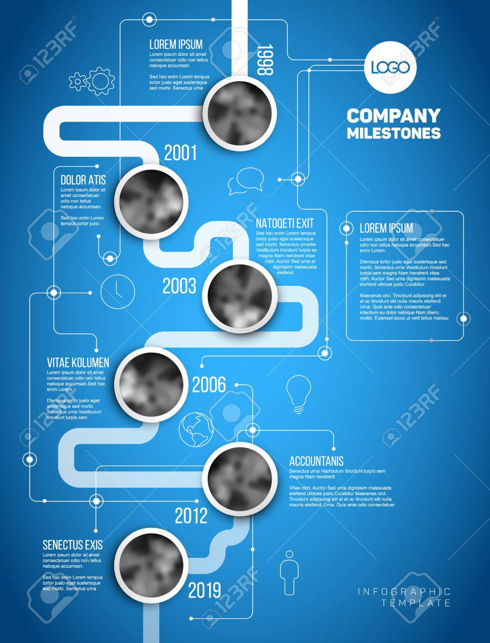 Vector infographic company milestones timeline template with vector vector infographic company milestones timeline template with circle photo placeholders on a thick line vertical blueprint version malvernweather Gallery