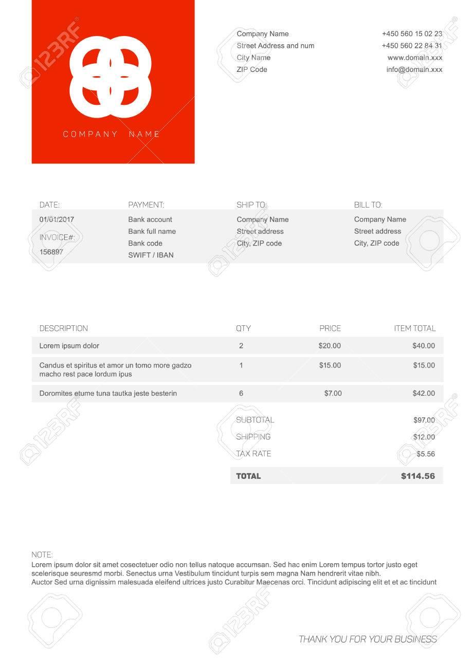 Vector Minimalistische Rechnung Vorlage Design Für Ihr Unternehmen ...