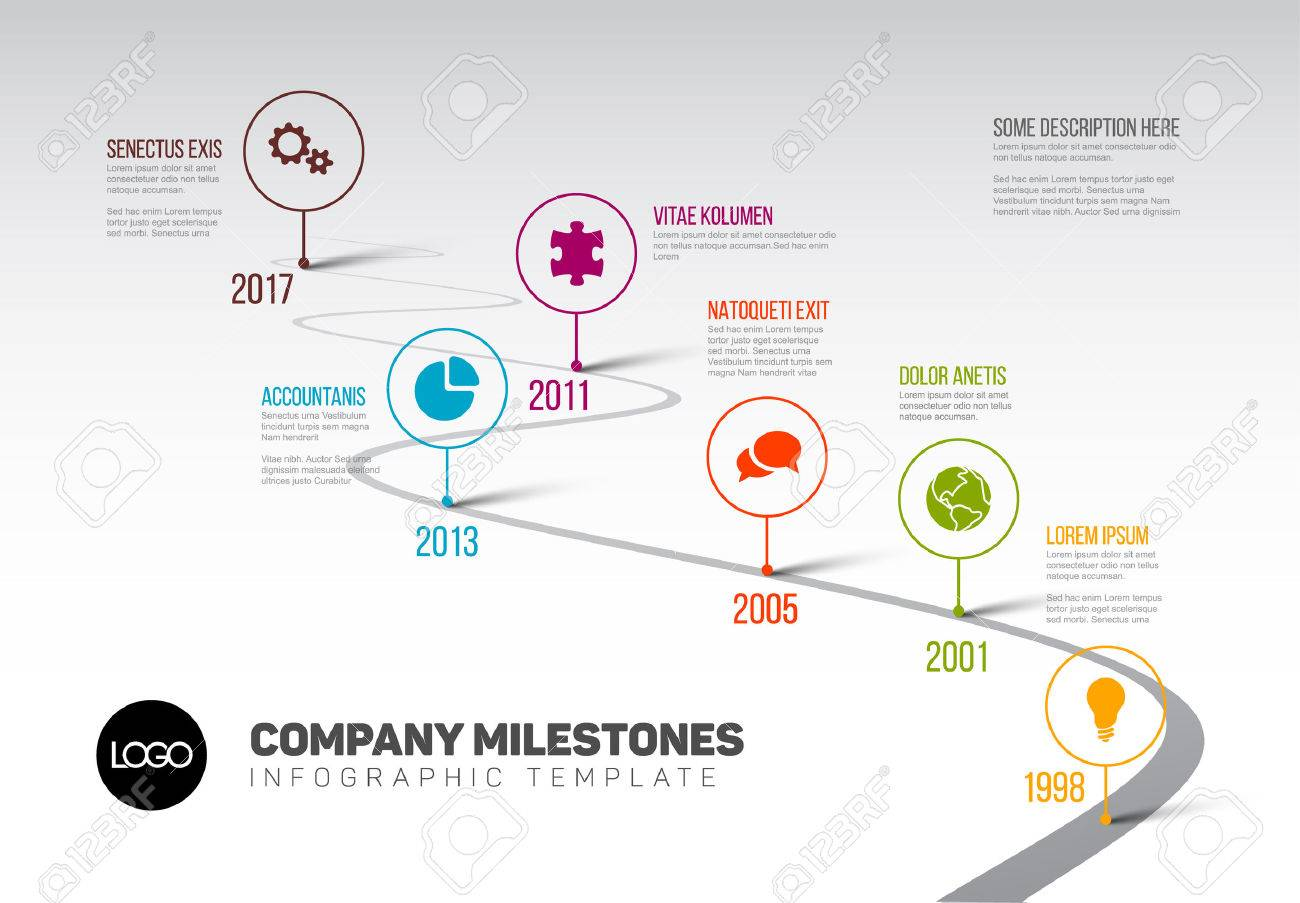 Vector Infographic Company Milestones Timeline Template with pointers on a curved road line - 77503517