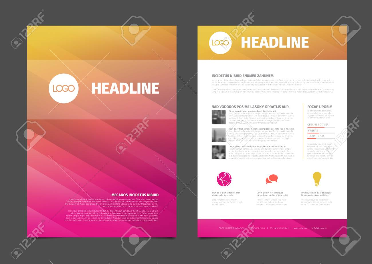 Sample El Brochure | Modern Business Brochure Flyer Vector Template Design With Photos