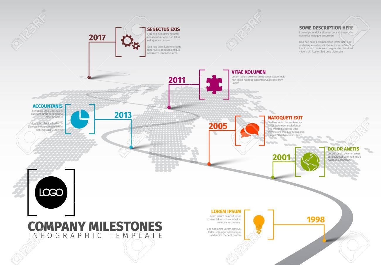 A Vector Infographic Company Milestones Timeline Template With - Milestone timeline template