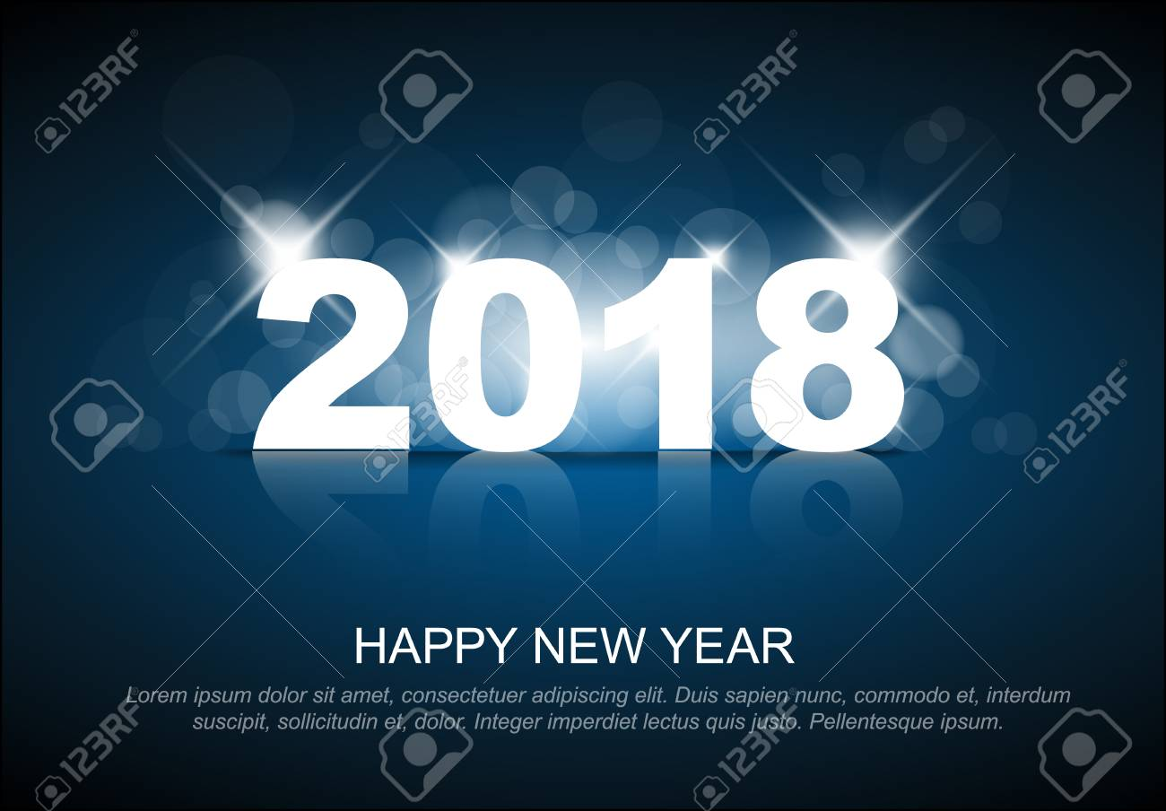 new year 2018 card template with back light and place for your text stock vector