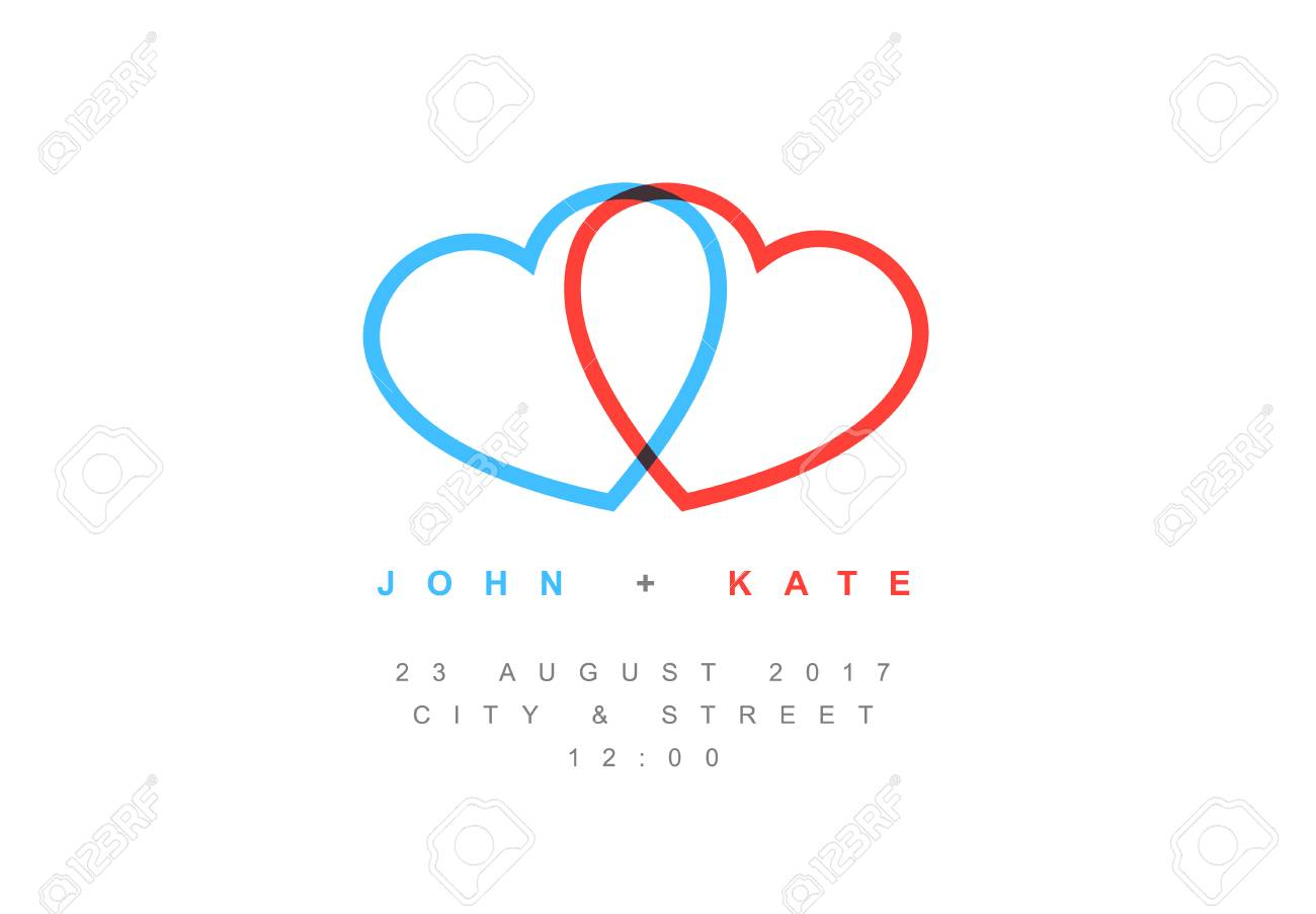vector minimalist wedding invitation card template with two hearts