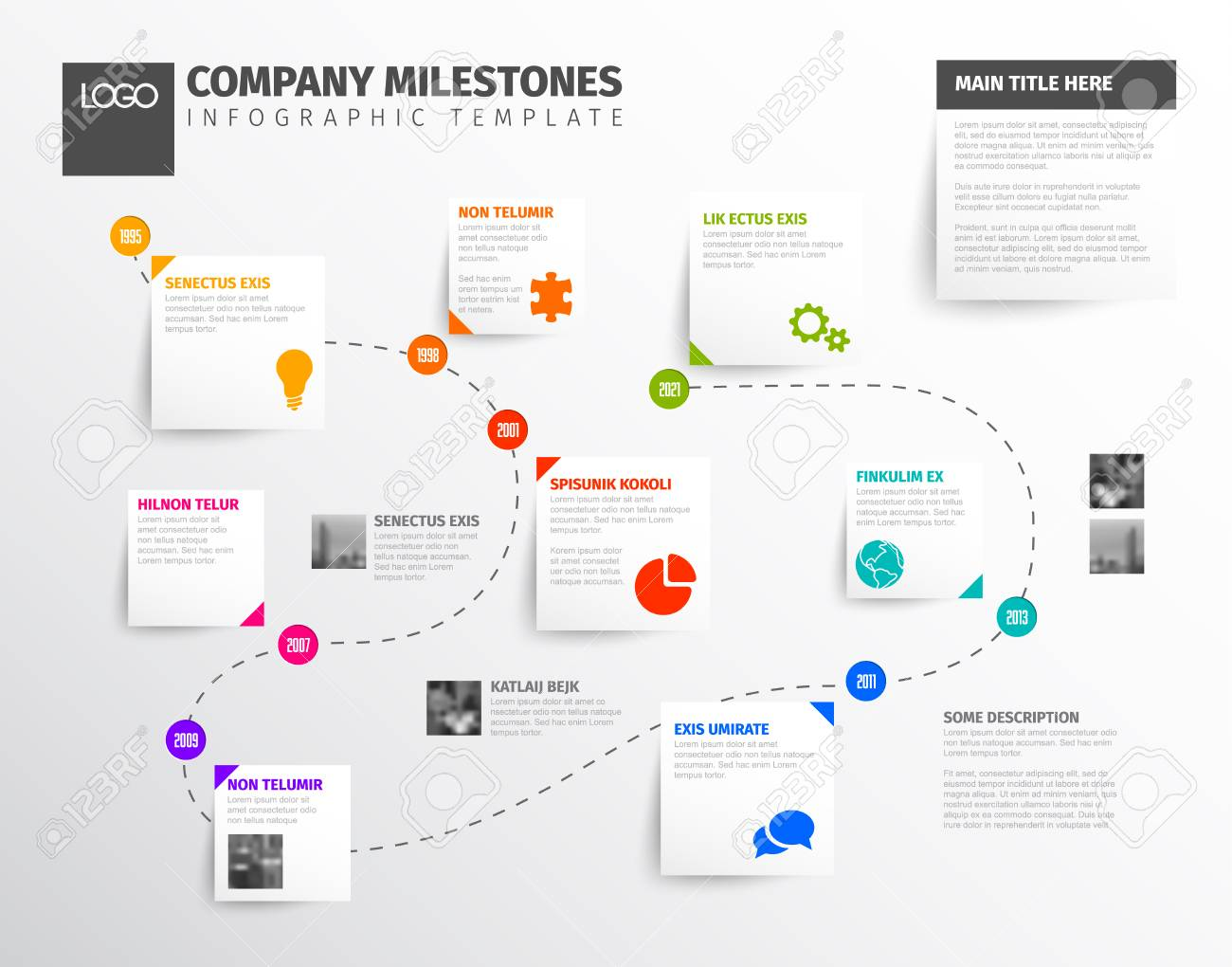 vector infographic timeline report template with icons and simple