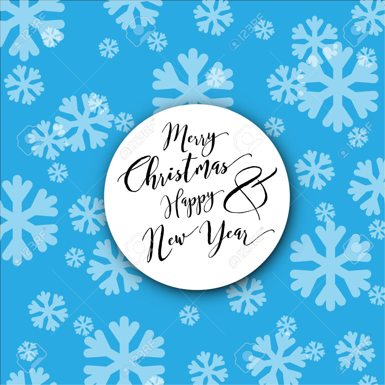 minimalist christmas card with white snowflakes on blue background
