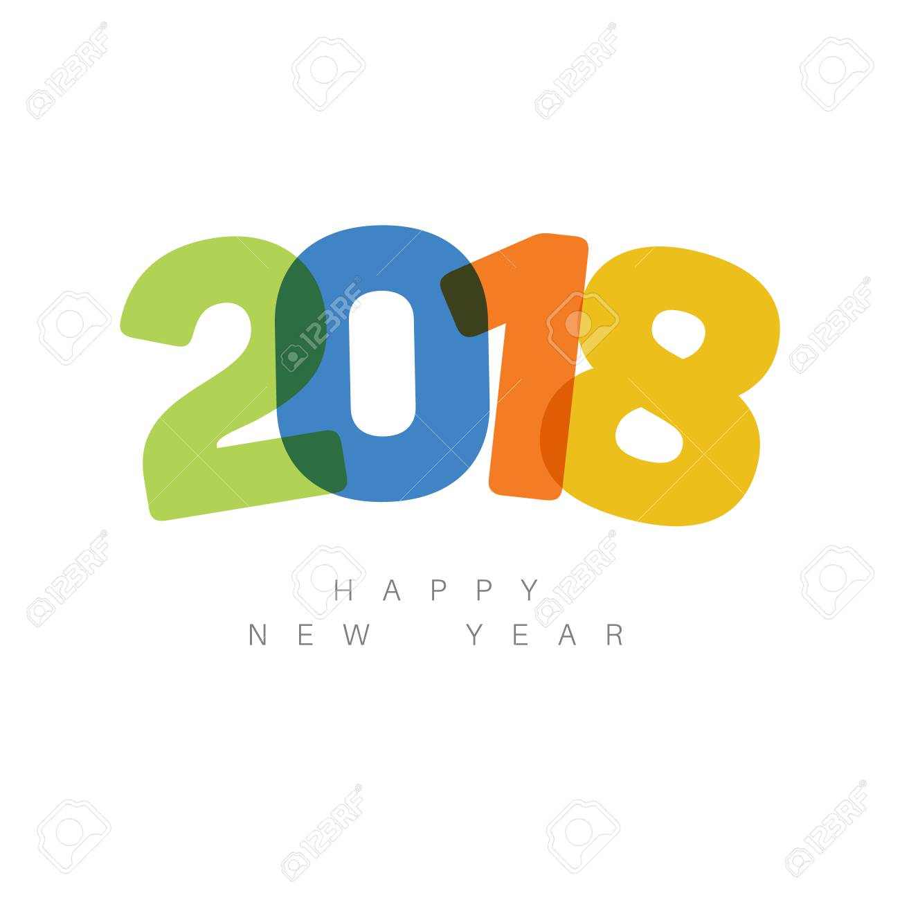 modern minimalistic happy new year card 2018 with a big numbers and flat overlay