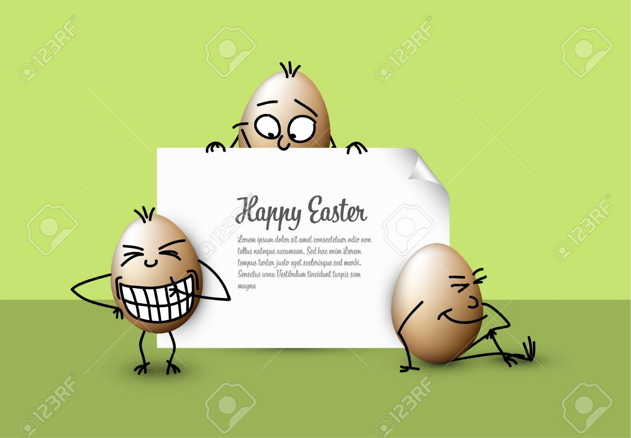 funny vector easter eggs happy green easter card template royalty