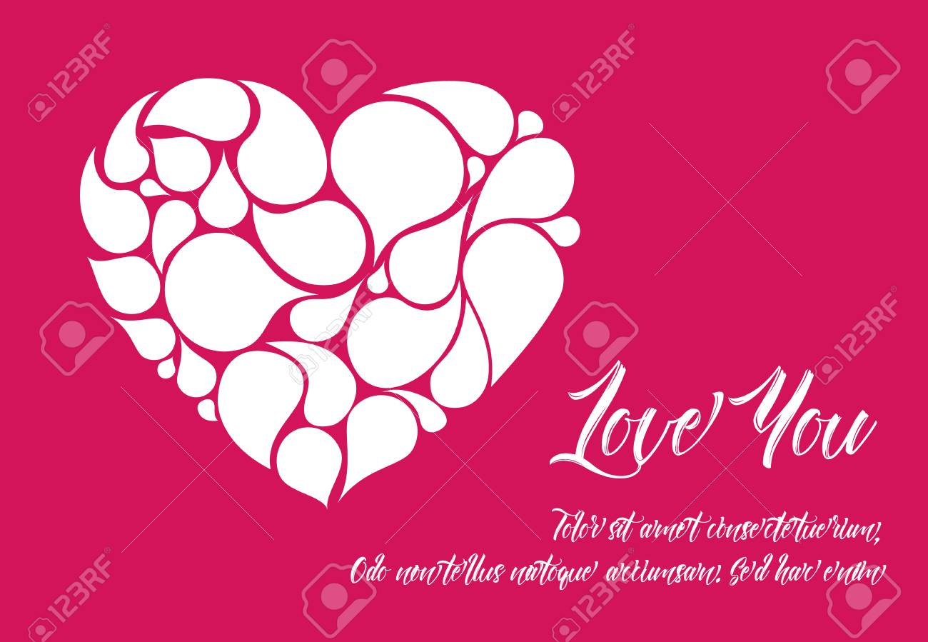 Minimalistic valentine card template with white heart made from minimalistic valentine card template with white heart made from droplet shapes stock vector 94992340 maxwellsz