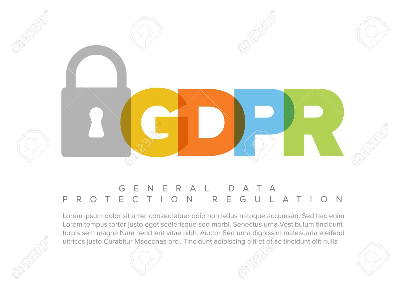 European GDPR concept flyer header template illustration - 95585507