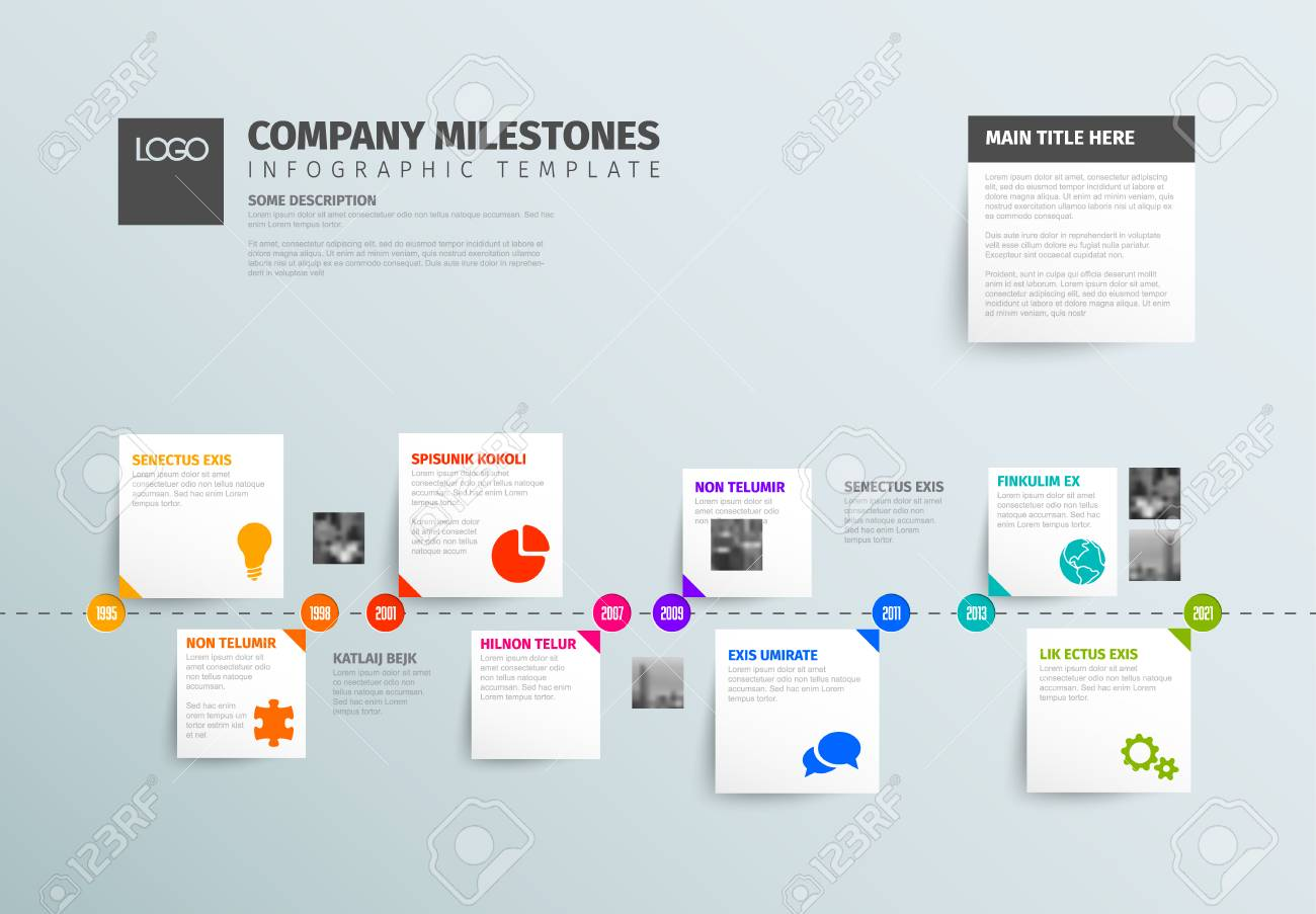 vector infographic time report template with horizontal timeline