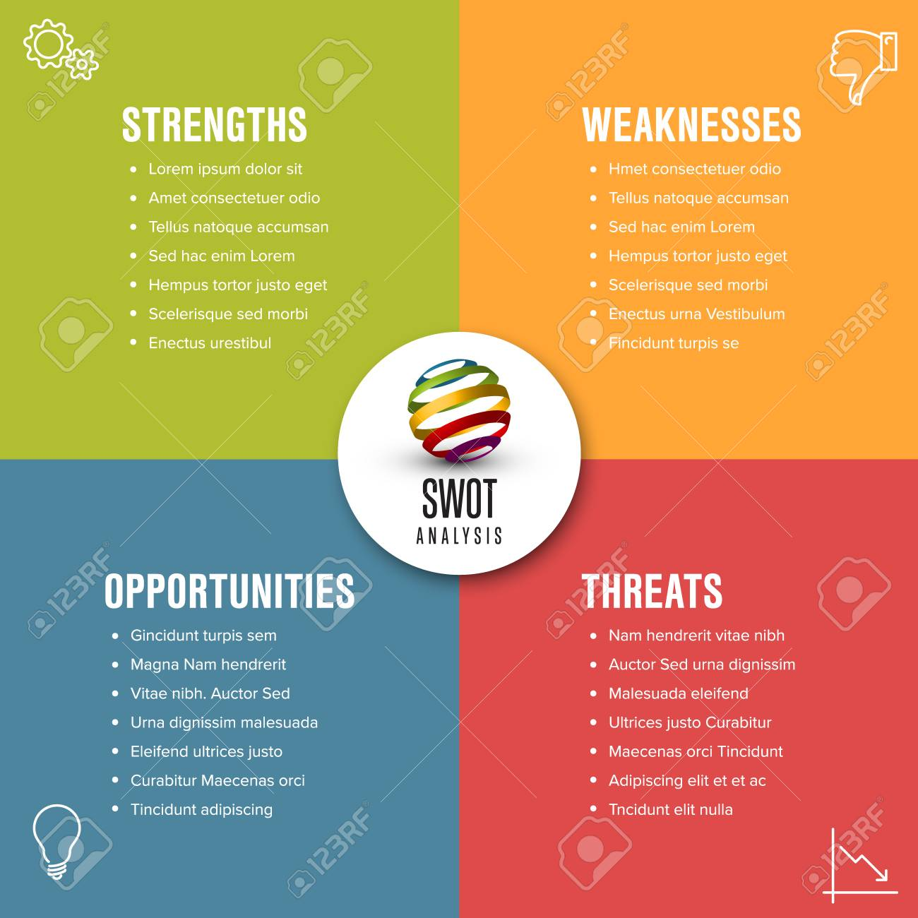 Vector SWOT diagram schema template made from four colorful squares - 99437827