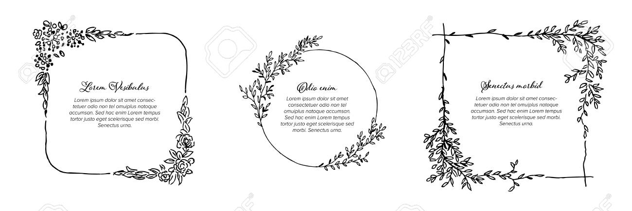 Minimalist Floral Frames Template Collection Made From Simple ...