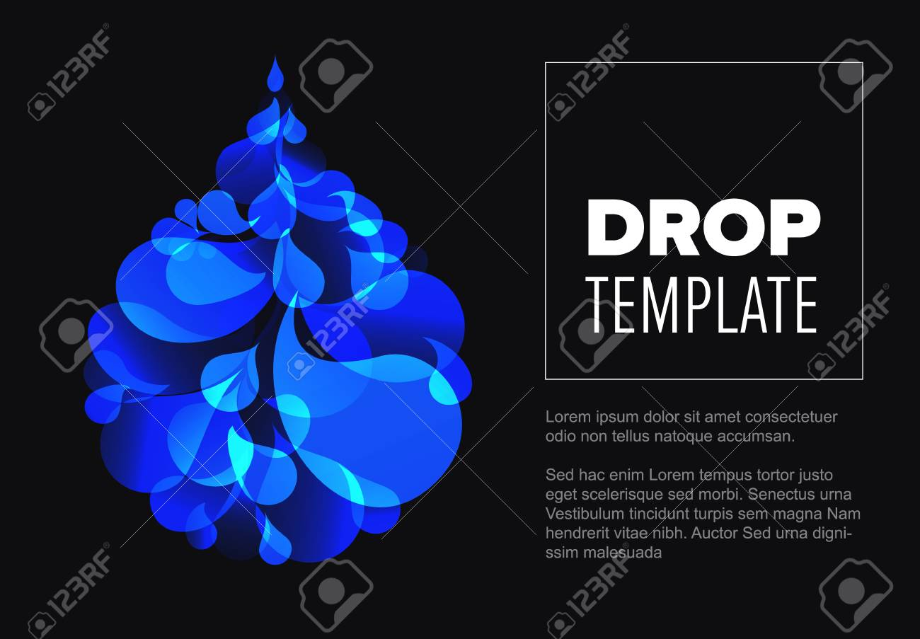abstract dark flyer template with blue droplet made from small
