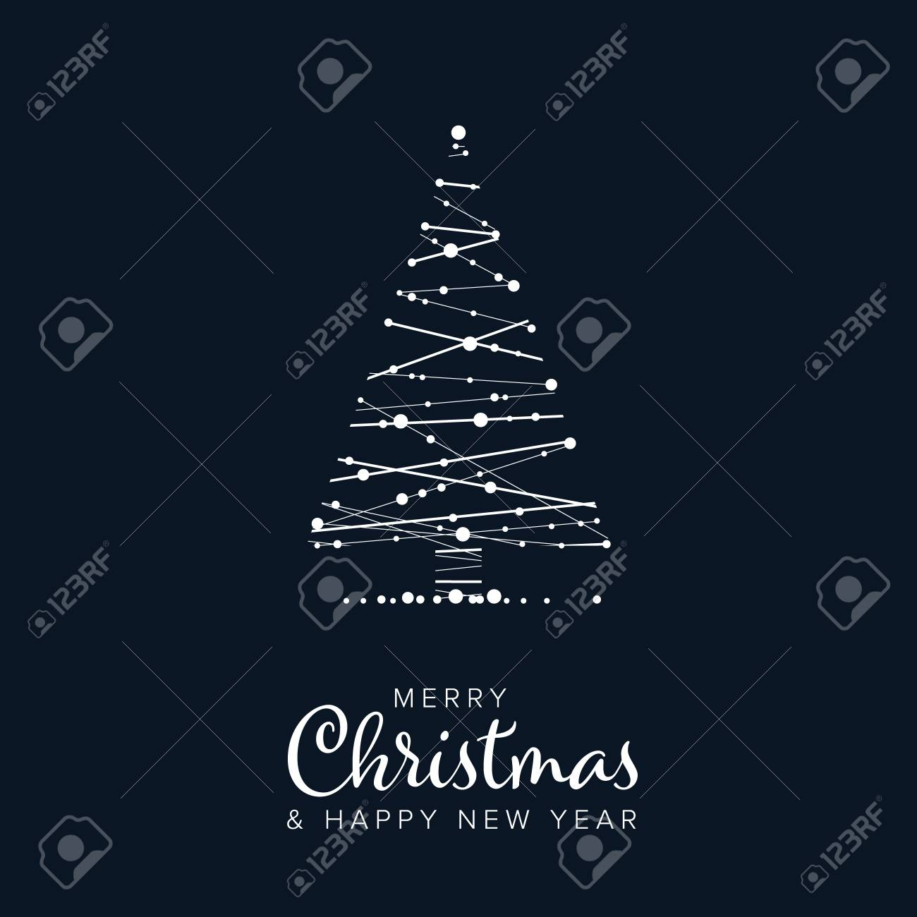 Minimalist Christmas flyer card temlate with abstract christmas tree on a dark blue background - 118172537