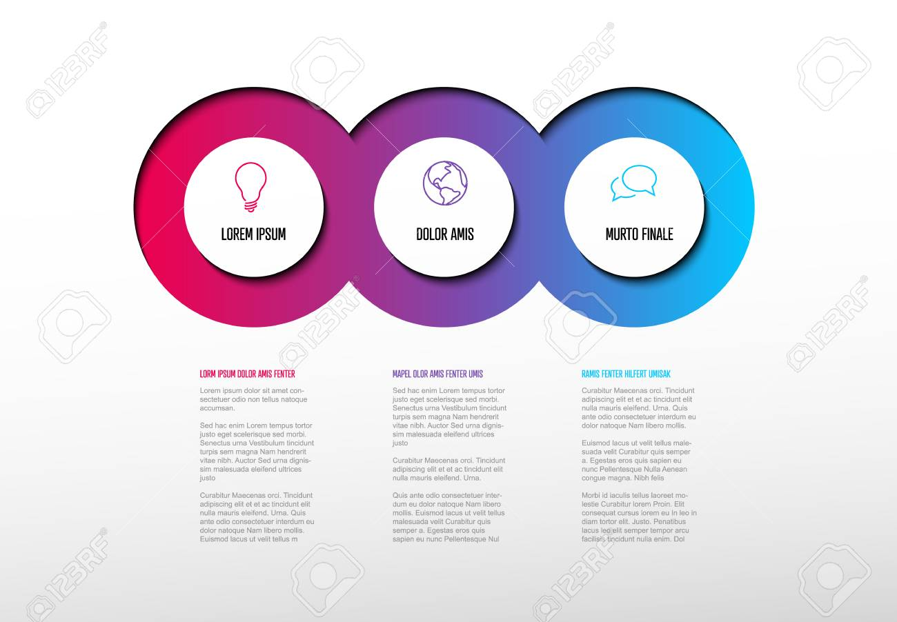 Vector multipurpose Infographic template with three elements options and modern colors on a light background - 125919079