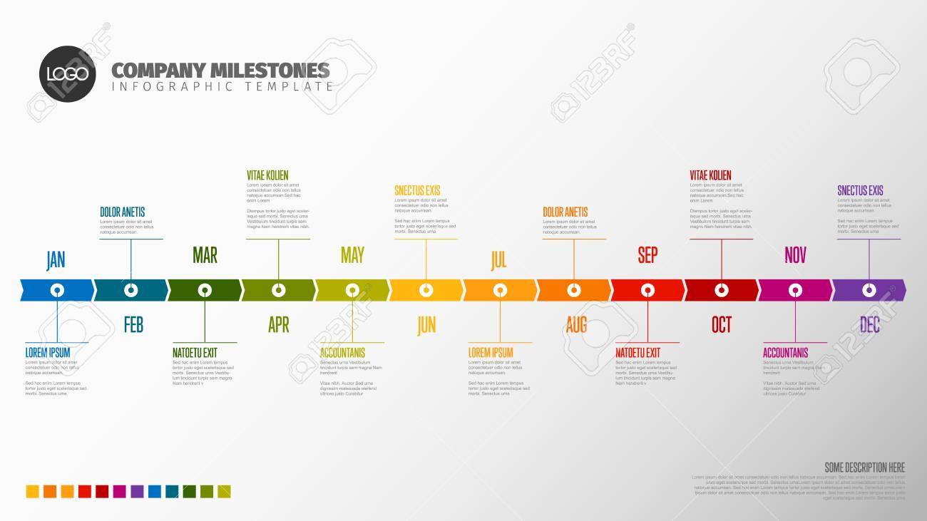 Full year timeline template with all months on a horizontal time line - 120208168