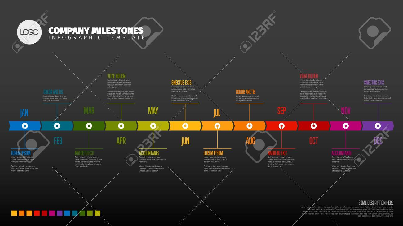 Full year timeline template with all months on a horizontal time line - dark version - 122690120